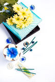 Aromatherapy set with flower candle and incense Royalty Free Stock Photos