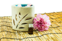 Aromatherapy Spa concept with pink carnation Royalty Free Stock Images