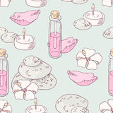 Aromatherapy and spa hand drawn seamless pattern. Aromatherapy hand drawn seamless pattern in vector. Spa background Royalty Free Stock Photography