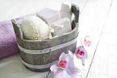 Aromatherapy spa massage tools to body care still life. Concept stock images