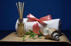 Aromatherapy in spa with pink towel and shell Stock Images