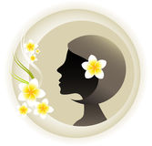 Aromatherapy Style. Concept. Silhouette of a lady's head with white fragrant Frangipani flowers Royalty Free Stock Photography