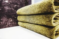 Aromatherapy towel. Towels on bathroom shelves Stock Photography
