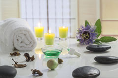 Aromatherapy votive candles burning with a soft glowing flame for wellness treatment in spa Royalty Free Stock Images