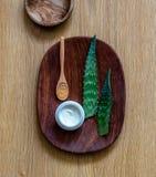 Aromatherapyen och wellbeing med aloevera sidor för hemlagat stelnar royaltyfri fotografi