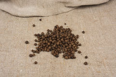 Aromatic allspice pepper. Seed on sack cloth royalty free stock photos