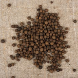 Aromatic allspice pepper. Seed on sack cloth stock photos