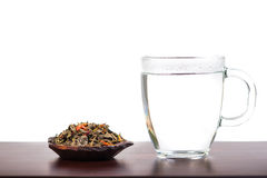 Aromatic antioxidant green tea on wooden board Royalty Free Stock Photo