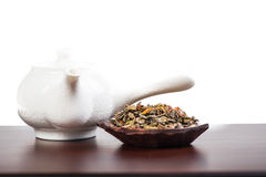 Aromatic antioxidant green tea on wooden board Royalty Free Stock Images