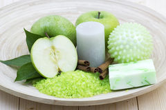 Aromatic apple bath. Bar of soap, bath salt, fresh apples Stock Image