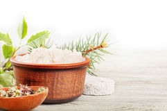 Aromatic bath salt and dried herbs Stock Photography