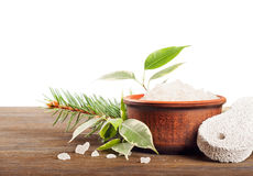 Aromatic bath salt and pumice stone Royalty Free Stock Images