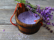 Aromatic bath salt in wooden bucket Royalty Free Stock Images