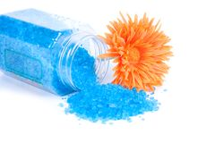 Aromatic bath salts and orange flower Stock Photo