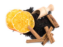 Aromatic black tea, cinnamon and orange Royalty Free Stock Photos