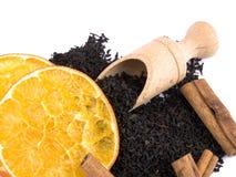 Aromatic black tea, cinnamon and orange Royalty Free Stock Image