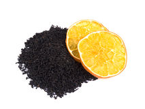 Aromatic black tea and orange Royalty Free Stock Image