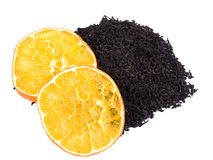 Aromatic black tea and orange Stock Photos