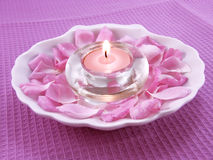 Aromatic candle for relaxation Stock Images