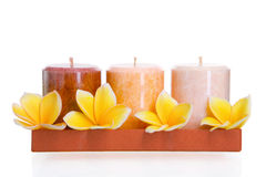Aromatic candles with frangipani Royalty Free Stock Photo