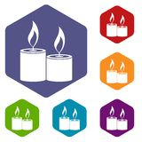 Aromatic candles icons set Royalty Free Stock Photography