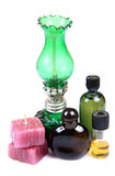 Aromatic candles and perfume bottles Royalty Free Stock Photos