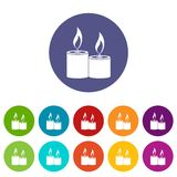 Aromatic candles set icons Royalty Free Stock Photo