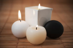 Aromatic Candles and SPA stone Stock Photo