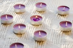 Small, purple, aromatic candles on a white background stock image