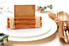 Aromatic christmas place setting place  with card Stock Photo