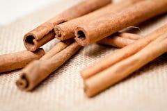 Aromatic cinnamon sticks detail macro closeup Stock Photo