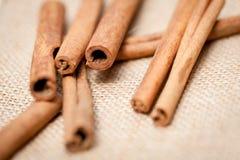 Aromatic cinnamon sticks detail macro closeup Stock Photography