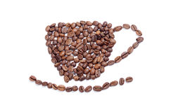 Aromatic coffee beans cup on white Stock Photos