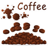 Aromatic coffee beans drop  Royalty Free Stock Images