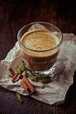 Aromatic coffee with milk and spices stock photo