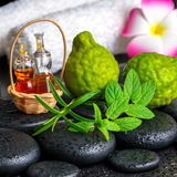 Aromatic concept of bergamot fruits, fresh mint, rosemary, candl Royalty Free Stock Image