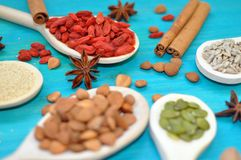 Aromatic condiments seeds and fruits in wooden spoons. royalty free stock photos