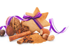Aromatic culinary spices and nuts still life. Stock Photography