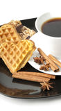 Aromatic cup of coffee. Cinnamon, anise and cookie Stock Image