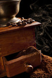 Aromatic dark rustic vintage coffee background. Royalty Free Stock Images