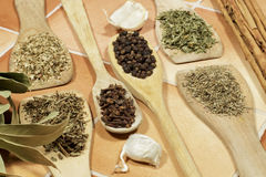 Aromatic dry herbs and seeds used as spices in cooking Stock Photo