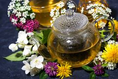 Aromatic flower tea and honey in a teapot, top view. Horizontal royalty free stock photos