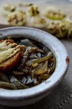 Aromatic French onion soup stock photos