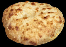 Aromatic Freshly Fireplace Baked Leavened Pitta Flatbread Loaf Isolated On Black Background Royalty Free Stock Images