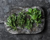 Aromatic garden herbs, food ingredients, seasonings - sage, thyme, mint, tarragon on a wooden rustic chopping board on a dark royalty free stock photos