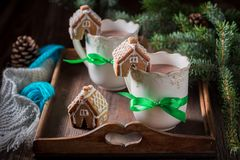 Aromatic gingerbread cottages with sweet drink in Christmas winter evening Stock Image