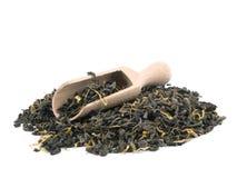 Free Aromatic Green Tea And Wooden Shovel On White Stock Photos - 18007013