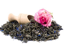 Aromatic green tea, wooden shovel and pink rose Stock Image