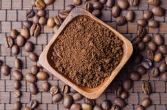 Ground cofee and beans Stock Images