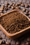 Ground cofee and beans Royalty Free Stock Photography